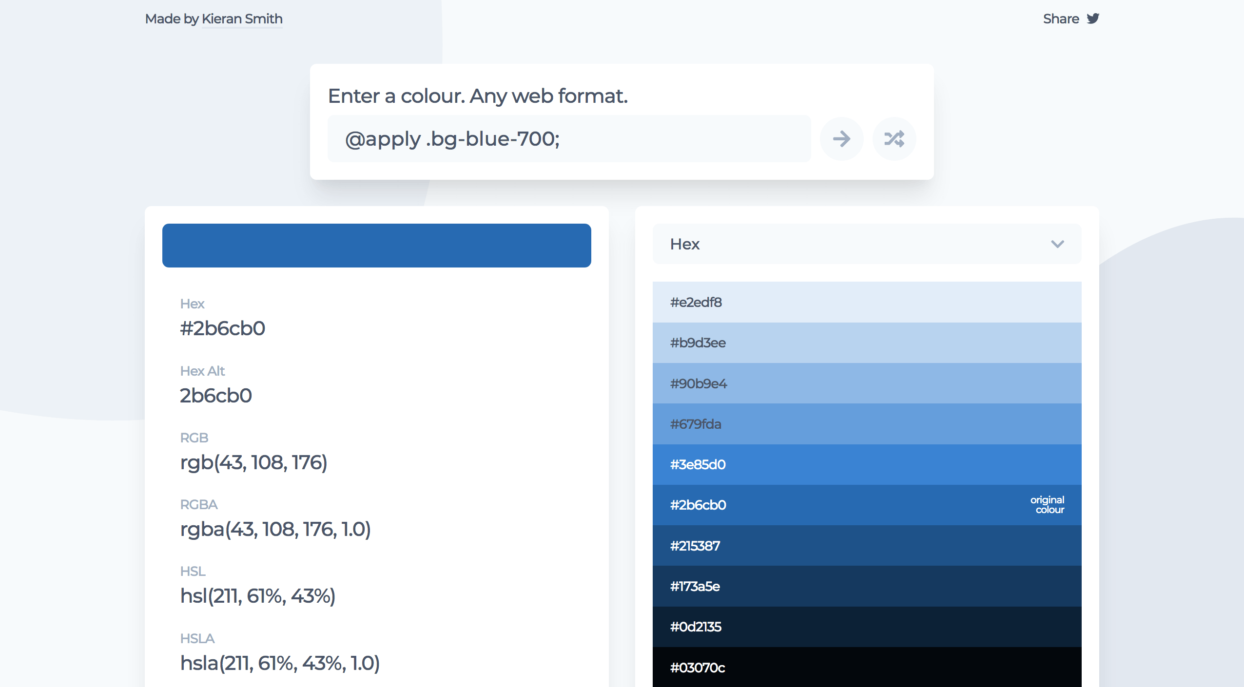 A screenshot of easycolour.app showing the colour variants for a dark blue